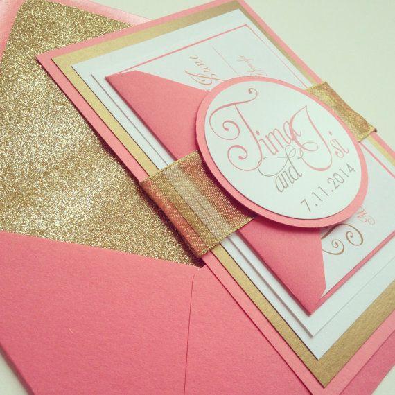 Shimmer Gold & Coral Wedding Invitation    by MaylaStudios on Etsy