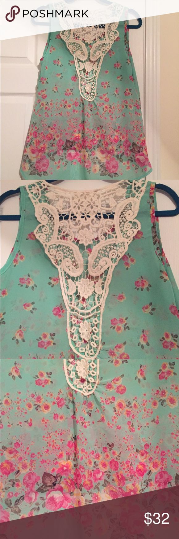 """Illa Illa See Through Sea Foam Green Blouse Illa Illa See Through Sea Foam Green Blouse w/ Cream Lace Detail...This top is gorgeous!! EUC!! Approx 19"""" W x 23"""" L front x 30"""" L back Illa Illa Tops Blouses"""