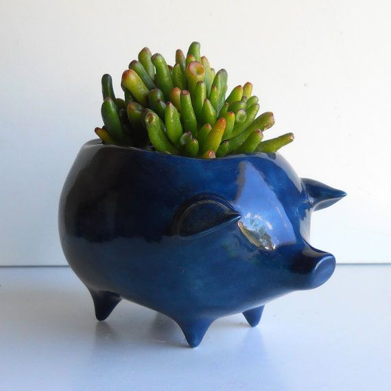 Ceramic Pig Planter Vintage Design in Navy Blue Succulent Planter Retro Birthday Gift Sponge Holder