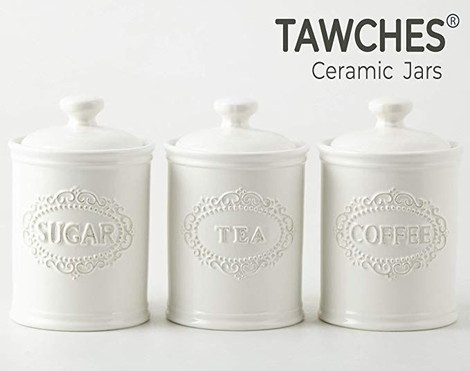 Ceramic Jars With Lids Airtight Set Of 3 White Canisters For Saving Coffee Suga White Kitchen Canisters Ceramic Kitchen Canisters Ceramic Kitchen Canister Sets