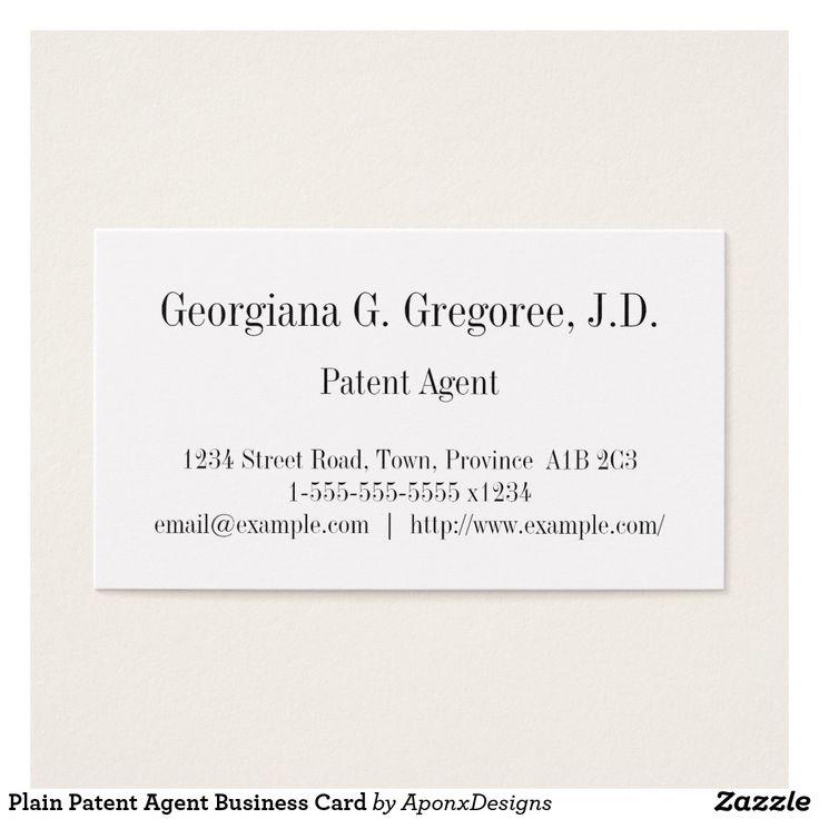 Plain Patent Agent Business Card