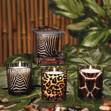 "JUNGLE NIGHTS Safari Animal Print 3"" x 3"" Candles in Glass / Jars"