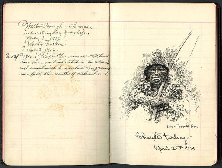 Selknam vistiendo una capa y un sombrero de piel de guanaco. Dibujo de W. Furlong, firmado el 25 de abril de 1914. Original se encuentra en el Instituto Smithsoniano, Washington.