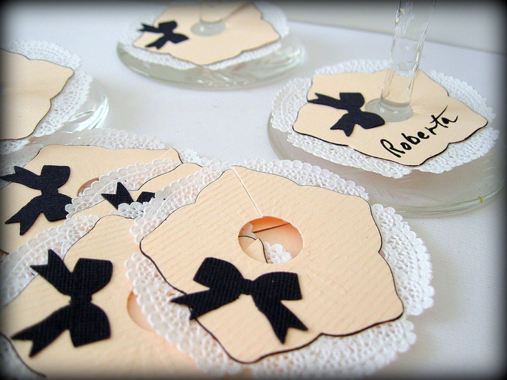 Paper Wine glass markers wine glass charms, Pink, Black  wine glass tags 10 place cards, wedding receptions shower luncheon hand crafted. $6.99, via Etsy.