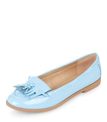 Pale Blue Patent Tassel Front Loafers