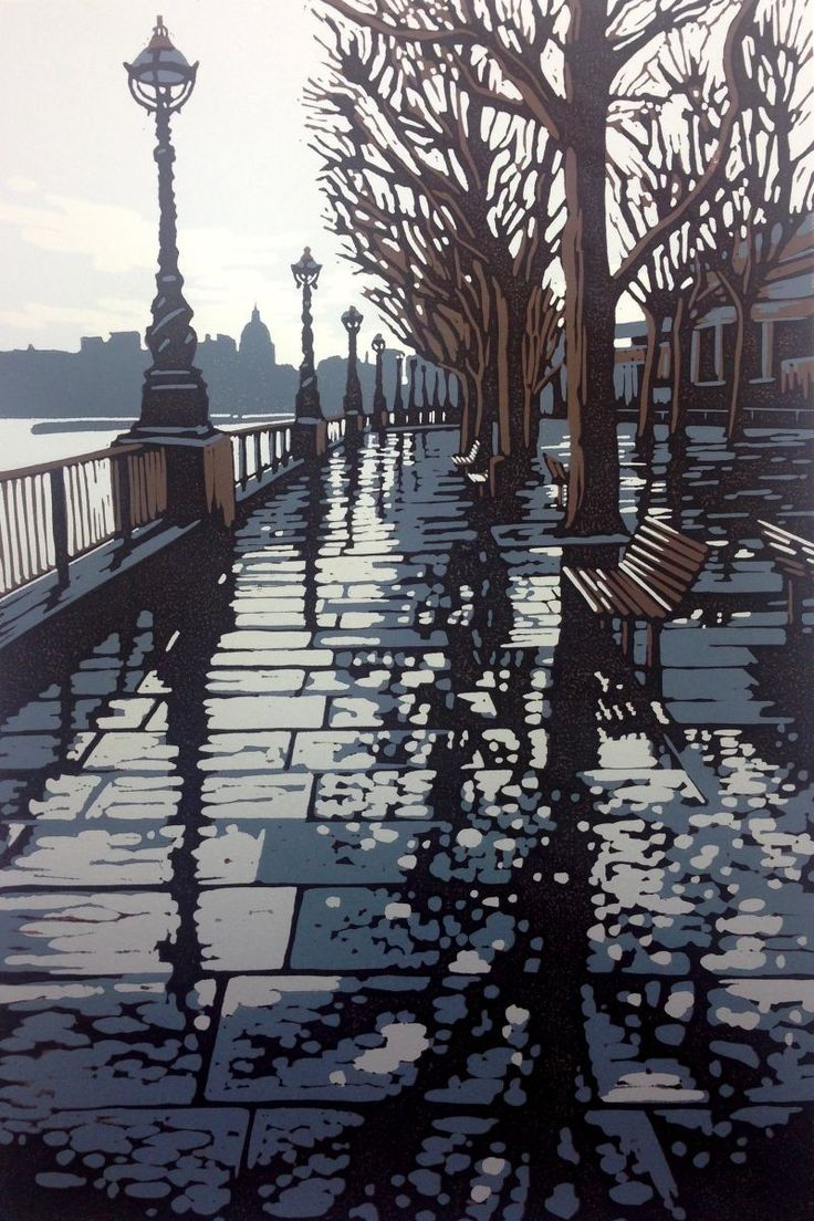 A reduction linocut of a rainy day on the Southbank, London. I loved the mix of city and nature in this scene.   A reduction print is a relief print formed with layers of colour that are cut and ...