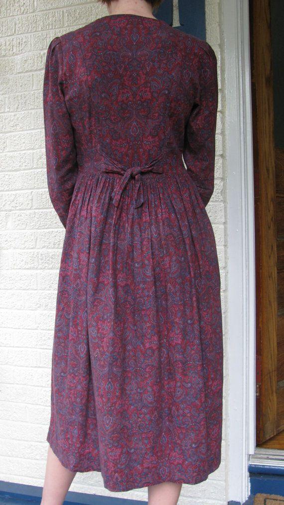 Purple Laura Ashley Dress  Paisley  Made in England