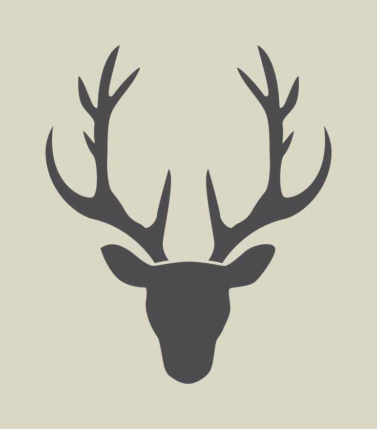 Cerf. Silhouette de tête de cerf. Pochoir en vinyle adhésif. (ref 189)