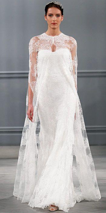 Monique Lhuillier Spring 2014: Silk white Chantilly lace cape and silk white Chantilly lace strapless sheath.