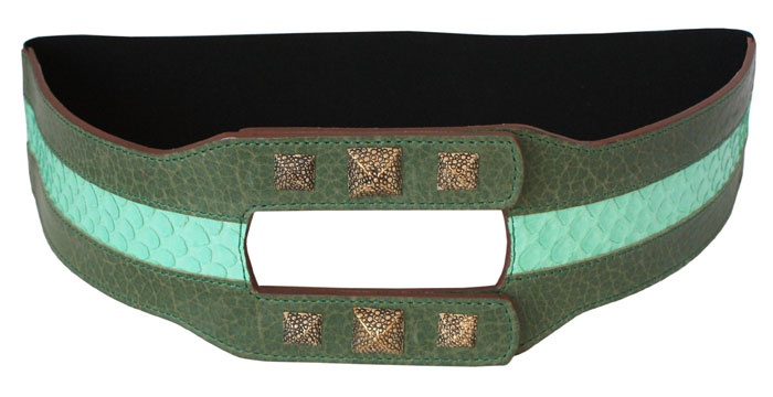 VANGLE - Genuine Python Leather - Made in Italy | Cintura con elastico realizzata in pelle di Vacchetta col. Verde e inserto in Pitone col. Menta - n°6 borchie in Ottone