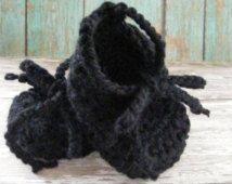 Black Baby Booties, balletto pantofola Stivaletto, infante ragazza Booties, ragazza regalo del bambino, Crochet Booties, pattini di bambino, Lace up stivaletti