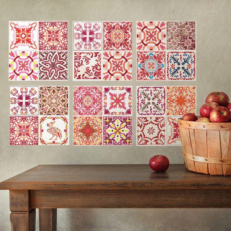 Marokkanische Rose rot Mosaik Wand Fliesen Aufkleber Kunst