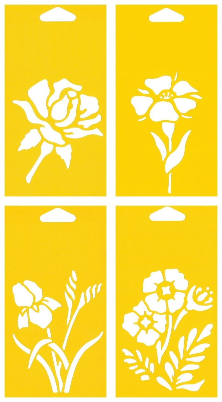 4 Stencils Cake Wall Airbrush Decorating Drawing Template Flowers Rose Lily…