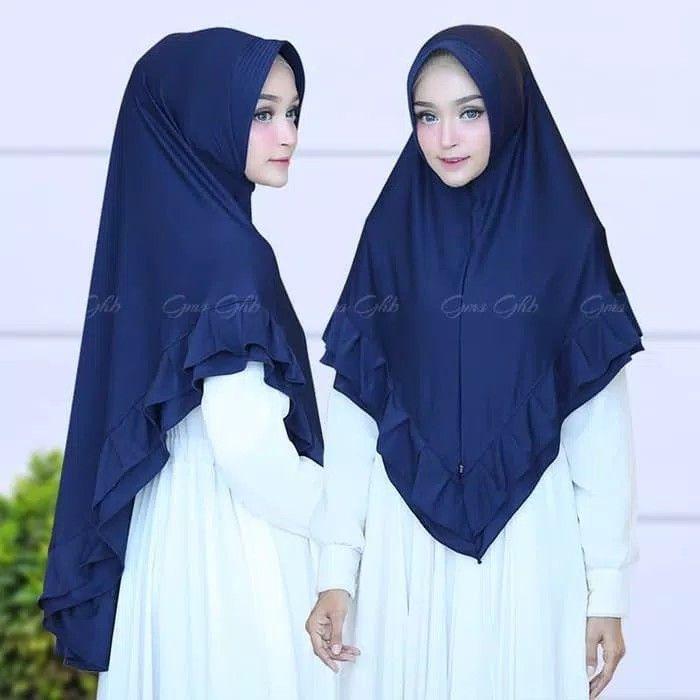 Hijab Khimar Zalina Hijab Khimar Syari Pad Antem Dengan Variasi Rempel Berlayer Di Sekeliling Khimar Praktis Namun Tetap Syari Cocok Di Hijab Kerudung Jahit
