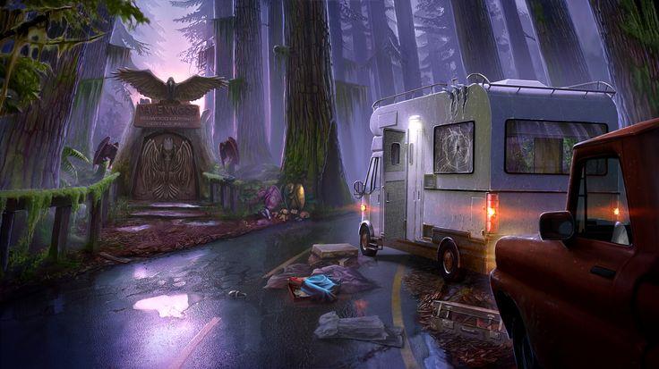 Enigmatis: The Mists of Ravenwood - Dark Highway www.artifexmundi.com/page/enigmatis2 #gate #raven #bird #redwood #park #entrance #game #adventure https://www.facebook.com/ArtifexMundi.Enigmatis