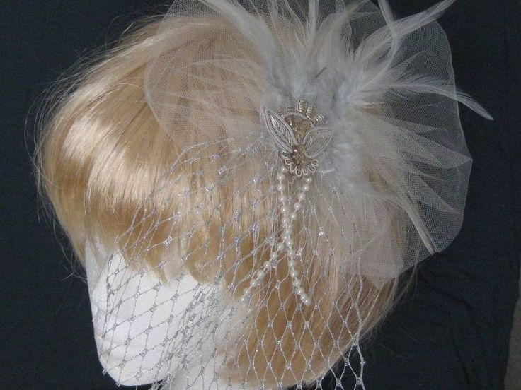 Bridal handmade soft cream Tulle with Silver Netting Headpiece Fascinator