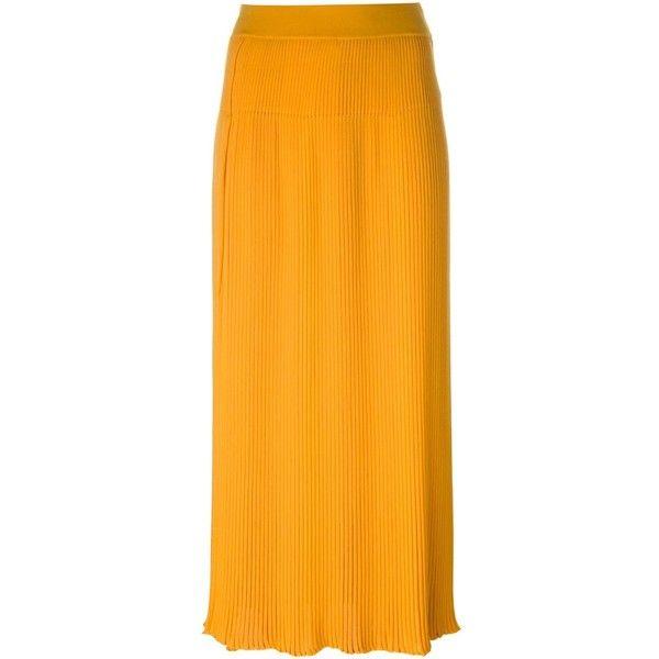 Sonia Rykiel pleated long skirt (29,025 DOP) ❤ liked on Polyvore featuring skirts, orange, sonia rykiel skirt, maxi skirts, long skirts, orange skirt and orange pleated skirt