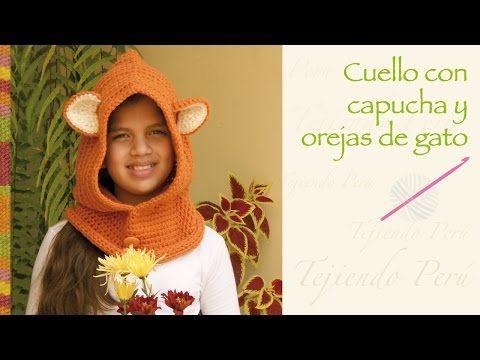 Cómo tejer una capucha crochet con orejas de gato / Tutoriales en video | Crochet y Dos agujas - Patrones de tejido