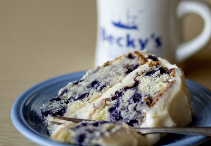 "Blueberry cake made using the Becky's Diner recipe in ""The New England Diner Cookbook."""