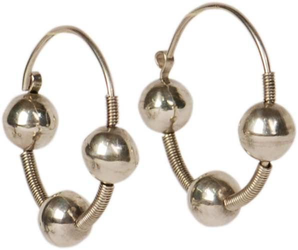 LITHUANIAN HOOP EARRINGS Smaller reproduction of earrings found in archeological sites dating from the 13th – 14th centuries. (The originals would stretch your lobes down to your shoulders!) Material: sterling silver Diameter: 1-3/8″ Handmade in Vilnius, Lithuania
