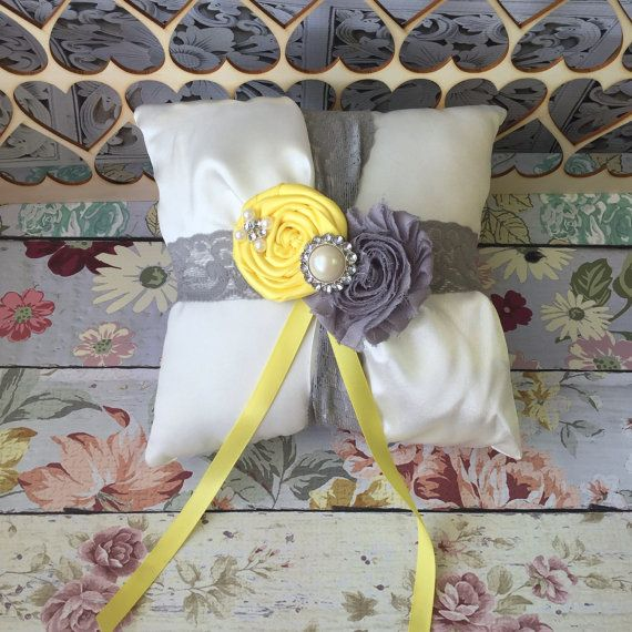 Grey and yellow ring bearer pillow / rustic wedding pillow / weddings/ ring pillow / ring bearer