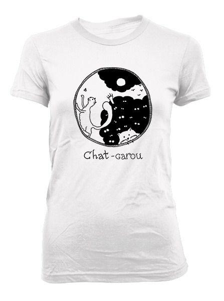 Chat-Garou - Ladies T-Shirt. Black print on white shirt. $20.00 Click here: http://store.theinprint.com/product/chat-garou-ladies