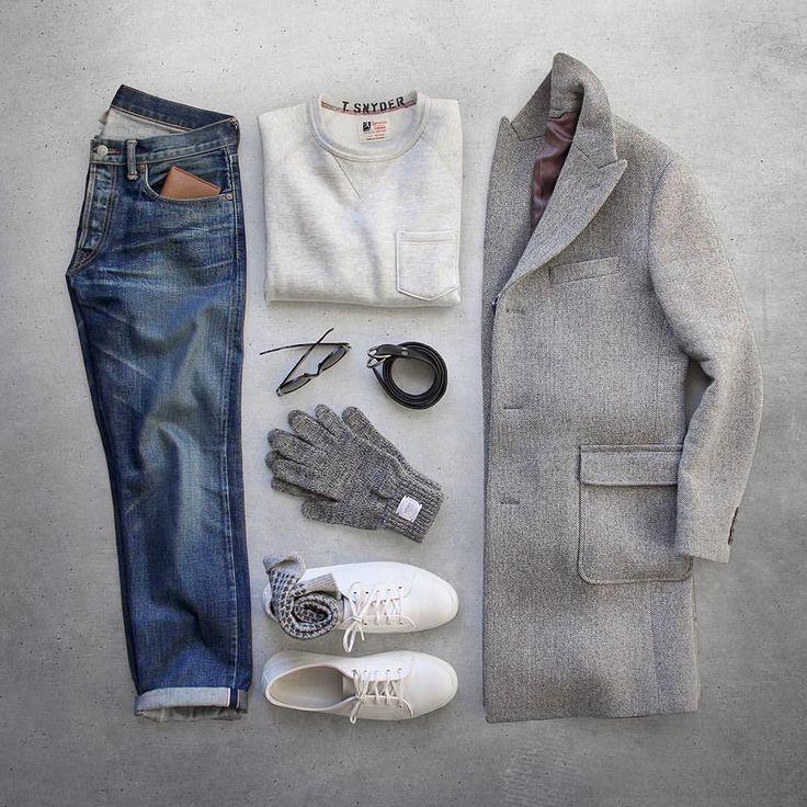 "Phil Cohen op Instagram: ""When fashion meets comfort. Pocket Sweatshirt/Ring Belt: @toddsnyderny Topcoat: @bonobos Mainline Grey Checked Gloces: @upstatestock Shoes: @rancourtco Court Classic Socks: @jcrew Wallet: @bisonmade Denim: RRL @ralphlauren Glasses: @rayban"""