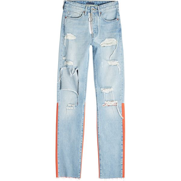 Off-White X Levi's Distressed Skinny Jeans ($770) ❤ liked on Polyvore featuring men's fashion, men's clothing, men's jeans, blue, vintage jeans, bleached jeans, blue distressed jeans, destroyed skinny jeans and blue ripped jeans