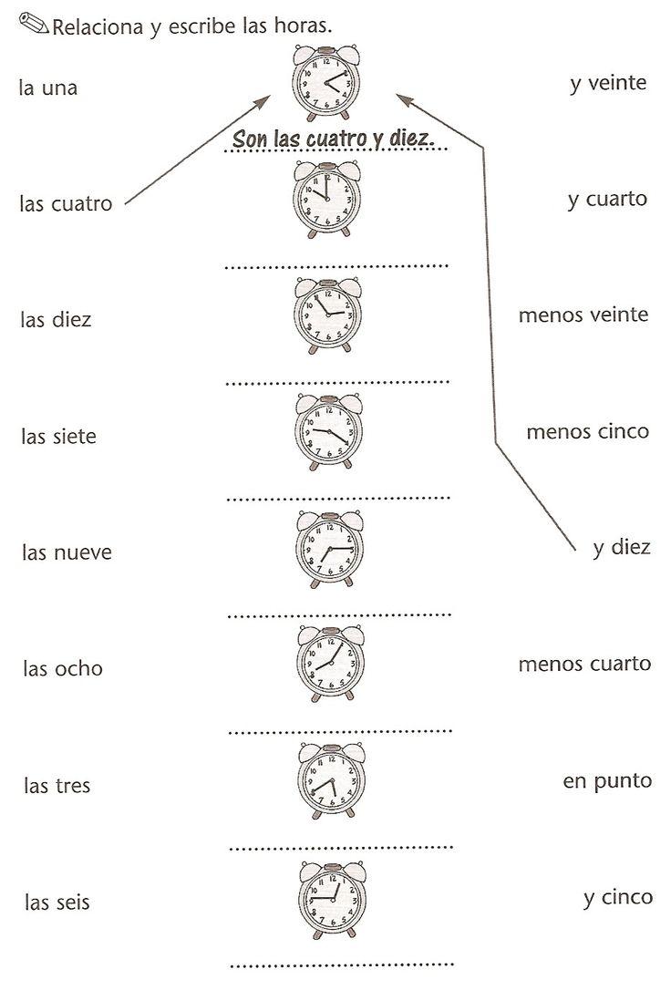 Worksheets Spanish Time Worksheet 21 best la hora images on pinterest the hours learning spanish lengua extranjera hora