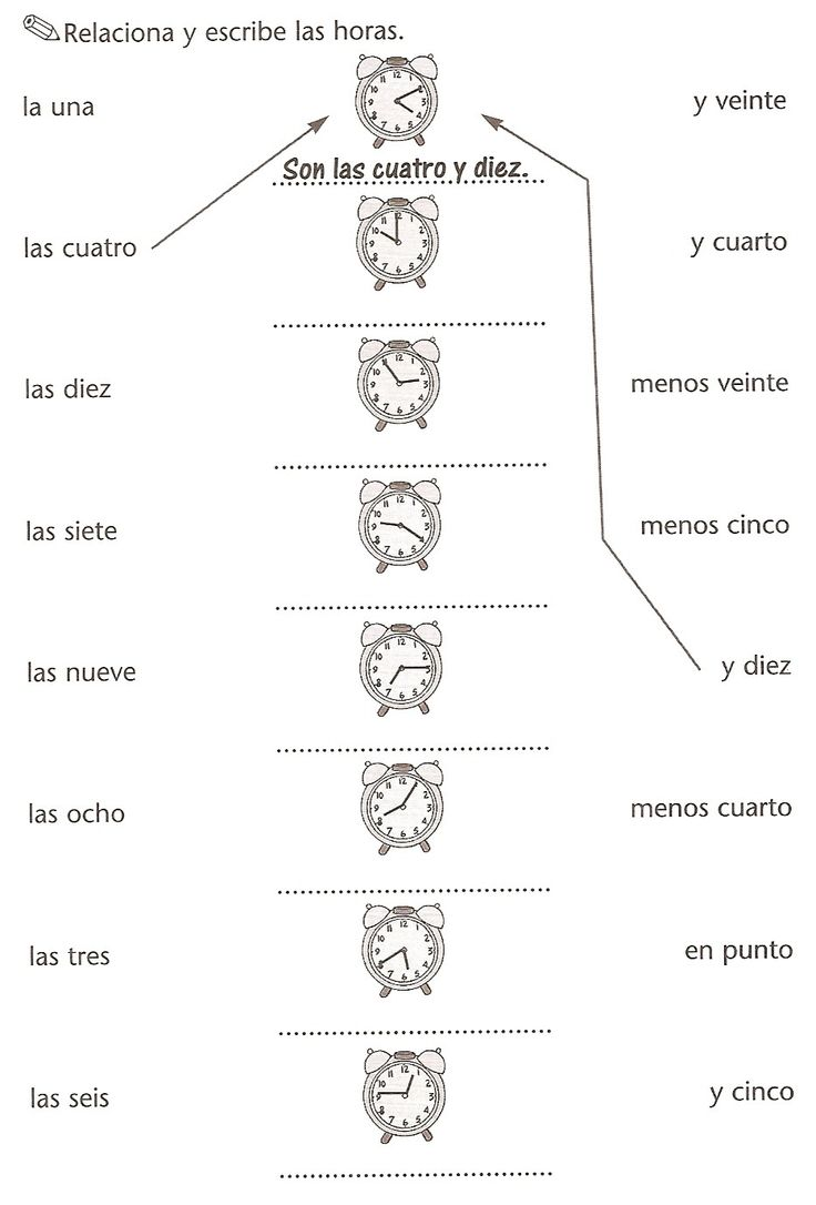 worksheet Telling Time In Spanish Worksheets 17 best images about telling time on pinterest spanish numbers lengua extranjera ejercicio