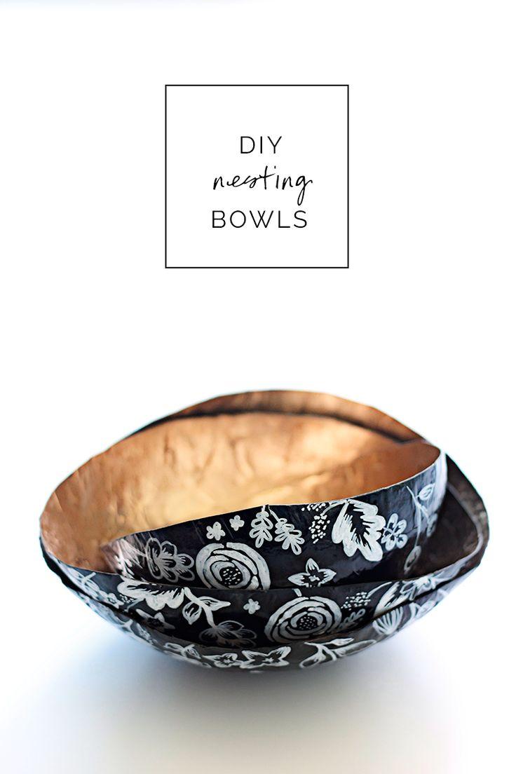 DIY Paper Mache Nesting Bowls (Honest Tip: Use non-toxic spray paint!)
