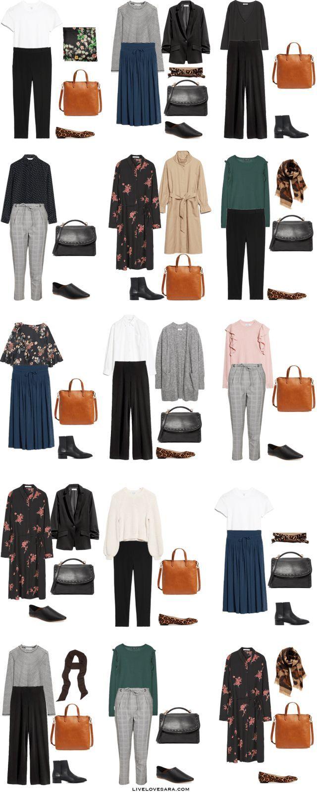 Starter Work Capsule Outfit Options 1-15 via livelovesara