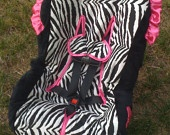 Zebra cotton with hot pink Toddler Car Seat Cover & shopping cart cover for multiples-Listing for Aly Hans