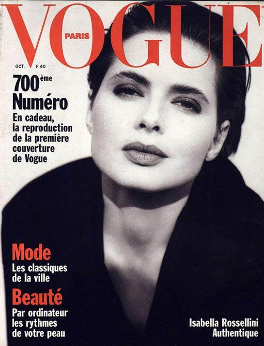 Isabelle Rossellini pour le numéro d'octobre 1989 de Vogue Paris