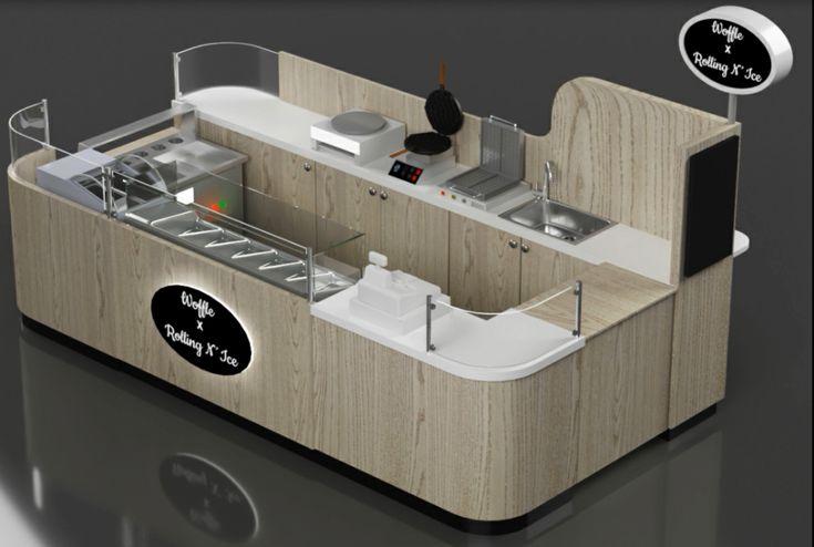 Elegant wood grain style waffle icecream food kiosk