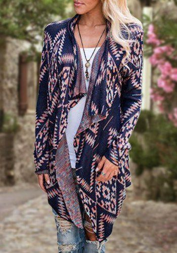 Retro Style Collarless Long Sleeve Loose-Fitting Ethnic Print Cardigan For Women