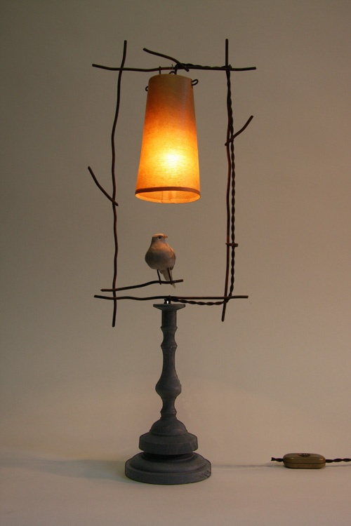 lamp . ethan à poser . patinated iron and bird feather on turned wooden base with shade . benoit vieubled