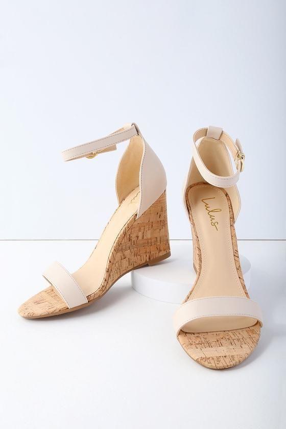 022cf83f15277 #fall #fashion #trends #styles #AdoreWe #Lulus - #Lulus Wylla Nude Cork  Wedges - Lulus - AdoreWe.com