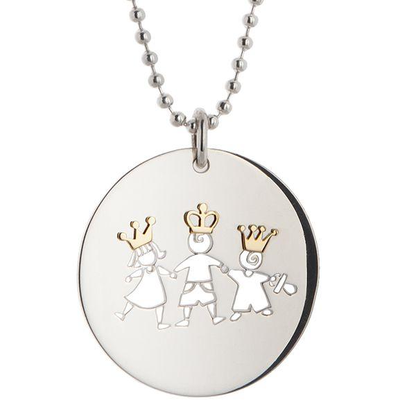 Disco in argento con applicazioni in oro giallo, per avere sempre le nostre creature al collo!