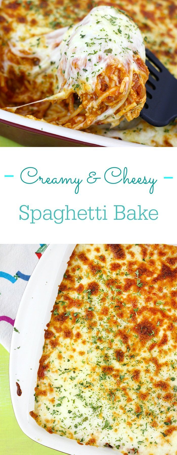 Cheesy Baked Spaghetti Recipe is SO creamy with a secret ingredient and cheesy beyond words. No more dry spaghetti. #MyHomestyleRecipe AD