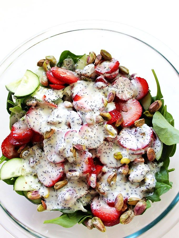strawberry cucumber salad with creamy lemon poppy seed dressing. Simple, quick and easy to make. The perfect side salad | robustrecipes.com