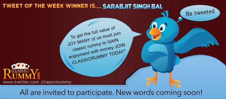 "Congratulations ""sarabjit singh bal"" - You have won our tweet of the Week Winner Contest!!!  You have won rs. 500/- cashfree....  He Tweeted: ""To get the full value of JOY MANY of us must join classic rummy to GAIN enjoyment with money JOIN CLASSICRUMMY TODAY""  https://www.classicrummy.com/?link_name=CR-12 ""  All are invited to participate all you need is follow us @ www.twitter.com/classicrummy"