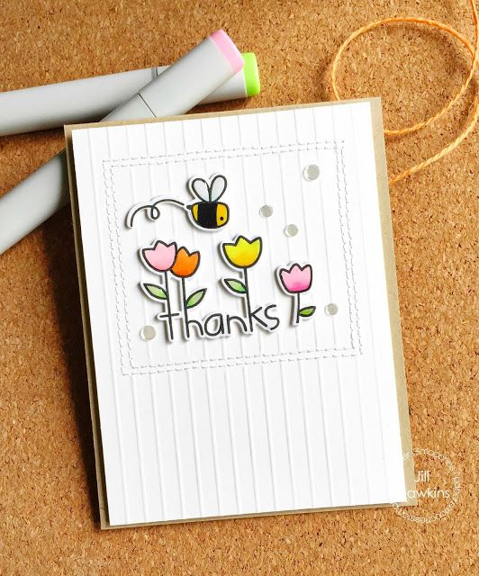 Thanks card by Jill Hawkins for Paper Smooches - Garden Greetings stamps and dies