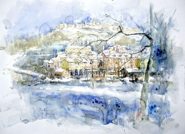 """""""Neve a Mondovì"""" Acquerello cm. 56x76"""