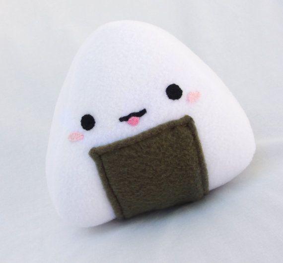 OniMiki The Kawaii Onigiri Fleece Plush Toy for by KnitsAdorable, $18.00