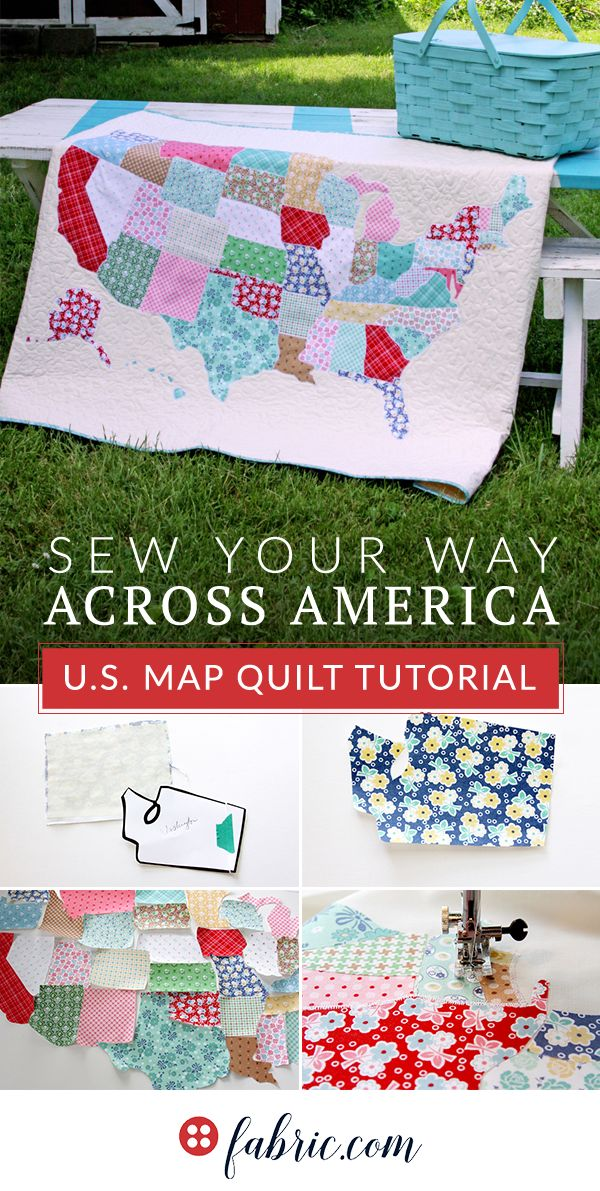 This U.S. Map Quilt is the perfect road trip companion. All 50 states are appliqued in scrappy, colorful prints. You can even customize your quilt with a line of embroidery to remember your trip by, or decorate the map with little hearts for places you've visited. Get the complete tutorial at fabric.com.
