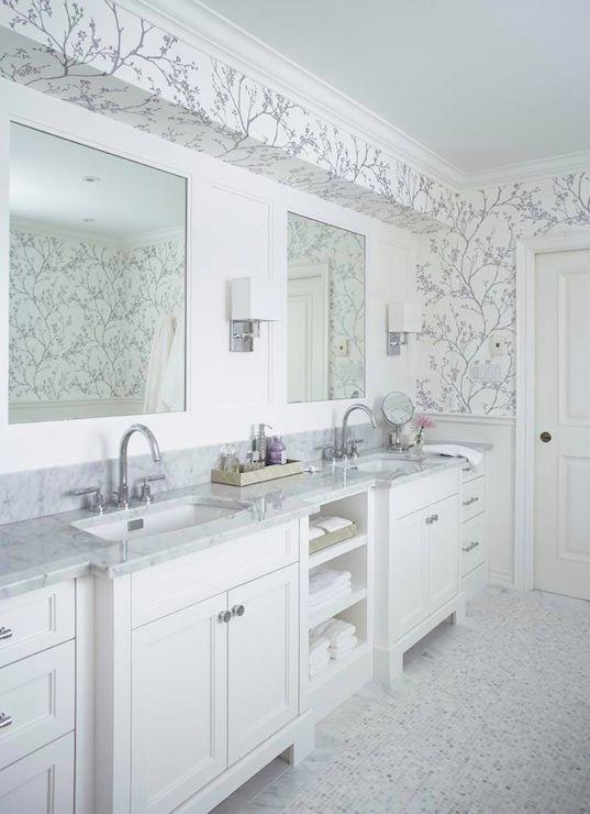 Jennifer Worts Design: Stunning silver bathroom with F Schumacher Twiggy Silver Wallpaper