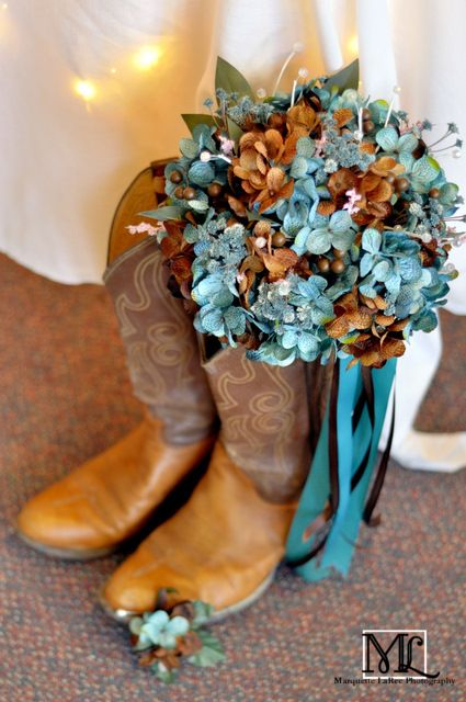 Brown and Blue Rustic Wedding Bouquet and Boots