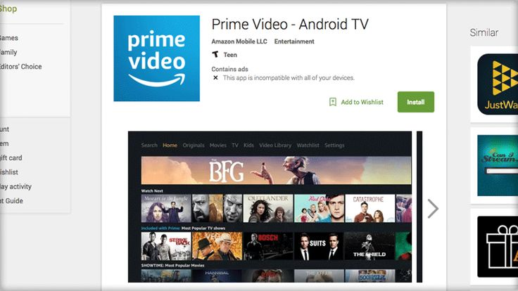 Amazon Prime Video app appears in the Google Play Store for Android TV