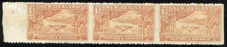 #326902    NZ Error 1900 Pict 1 1/2d Boer War selv strip 3 imperf vertically, hinged on 2, odd marks, on back looks like 1 huge stamp, Rare & key selv strip ... All Items are available for Direct Sale unless stated otherwise, you can email us directly via the below Contact Us Link or you can place an order via our web site www.completestamp.com or simply click the item Link above. All items are Guaranteed to meet description, Payment options include Direct Credit, Paypal, Visa…